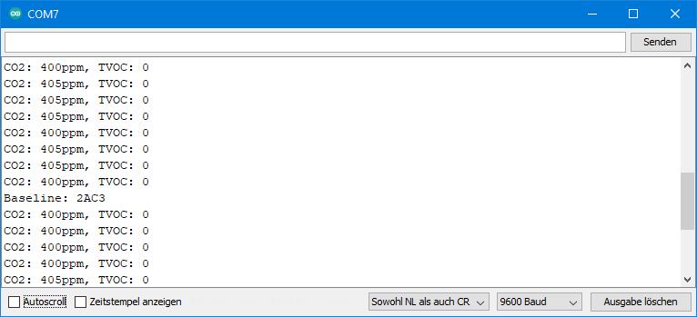 TVOC und eCO2 Sensoren - Ausgabe von Adafruit_CCS811_mod.ino