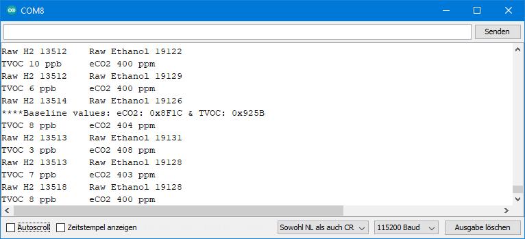 TVOC und eCO2 Sensoren - Ausgabe von SGP30test.ino