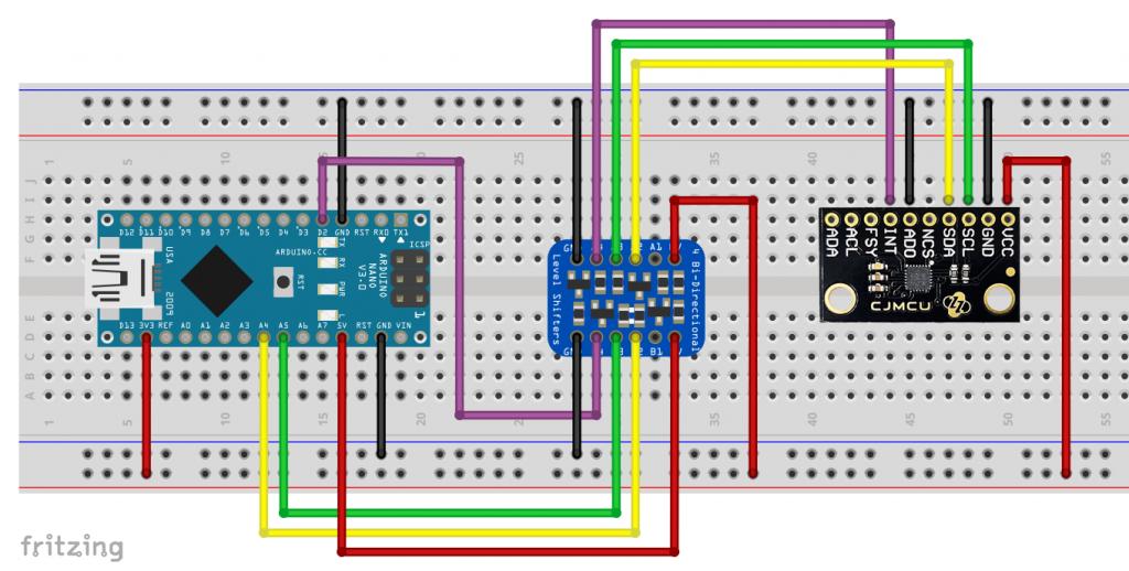 Ansteuerung des ICM-20948 mit Arduino Nano und Level-Konverter