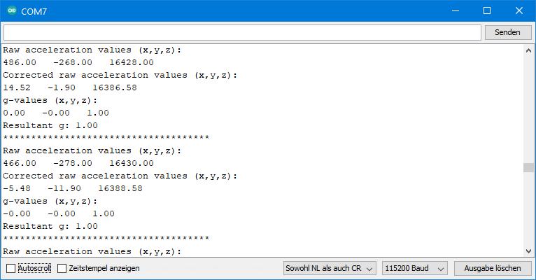 ICM-20948 - Ausgabe von ICM20948_01_acceleration_data.ino