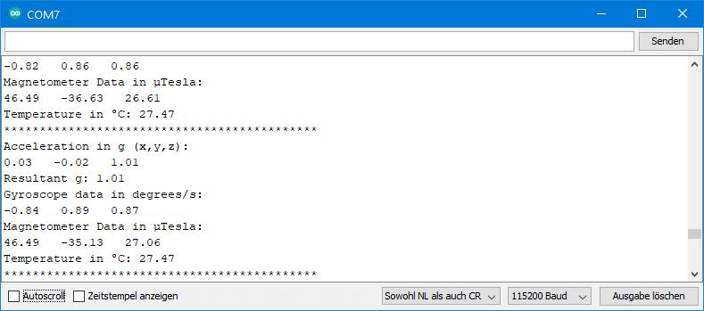 Die Ausgabe von ICM20948_05_acc_gyr_temp_mag_data.ino