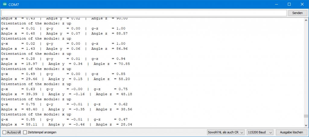 Ausgabe von ICM20948_06_angles_and_orientation.ino
