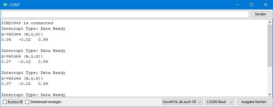 ICM-20948 - Output of ICM20948_09_data_ready_interrupt.ino