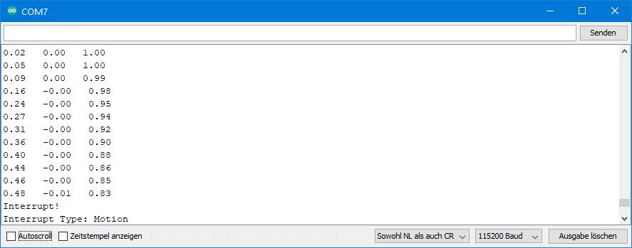 ICM-20948 Sample Sketch - Output of ICM20948_10_wom_interrupt.ino